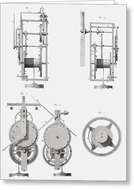Mechanism Drawings Greeting Cards - An Ancient Clock Built By Henry De Wick Greeting Card by Vintage Design Pics