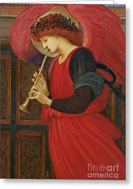 Red Greeting Cards - An Angel Playing a Flageolet Greeting Card by Sir Edward Burne-Jones