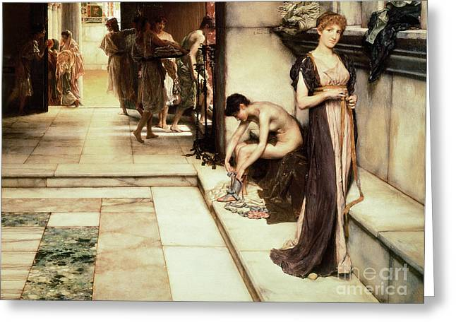 Bath Greeting Cards - An Apodyterium Greeting Card by Sir Lawrence Alma-Tadema