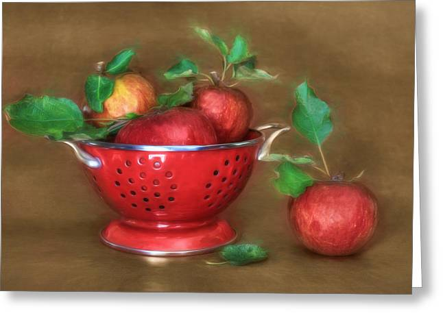 Strainer Greeting Cards - An Apple a Day Greeting Card by Lori Deiter