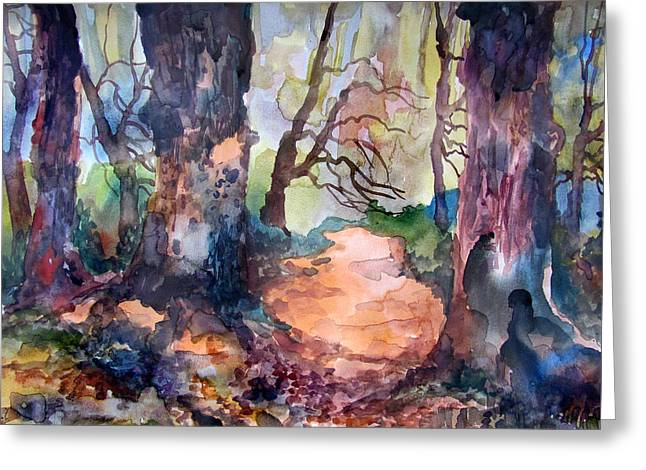 Indiana Springs Paintings Greeting Cards - An April Path Greeting Card by James Huntley