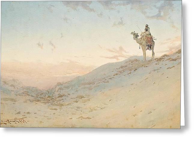 An Arab On A Camel Surveying Greeting Card by Augustus Osborne