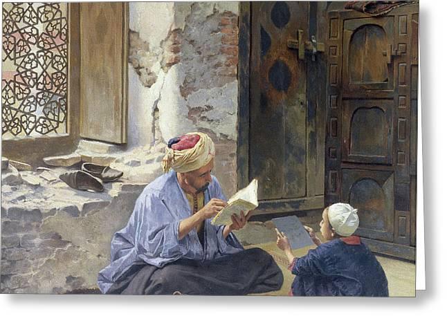 An Arab Schoolmaster Greeting Card by Ludwig Deutsch