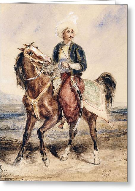 An Arab Warrior On Horseback In A Landscape Greeting Card by Ferdinand Victor Eugene Delacroix