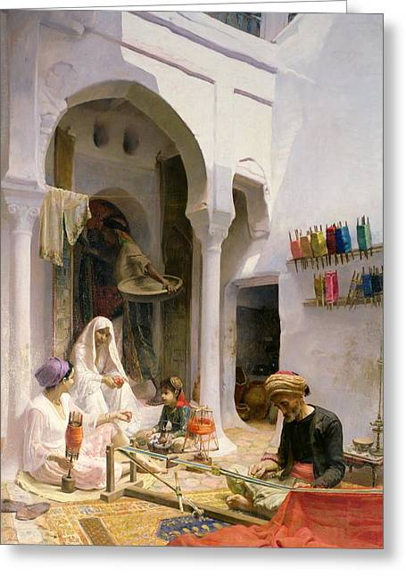 Manufacturing Paintings Greeting Cards - An Arab Weaver Greeting Card by Armand Point