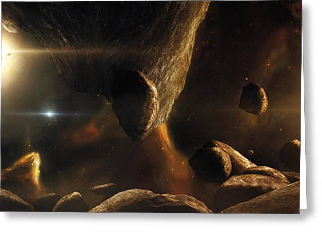 Meteorite Greeting Cards - An Asteroid Field Next To An Earth-like Greeting Card by Tobias Roetsch