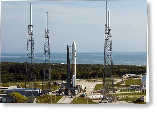 Carrier Greeting Cards - An Atlas V-551 Launch Vehicle At Cape Greeting Card by Stocktrek Images