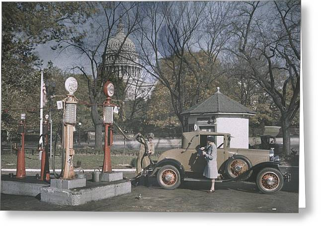 Period Photography Greeting Cards - An Autochrome Dipicts A 1920s Gas Greeting Card by Edwin L. Wisherd