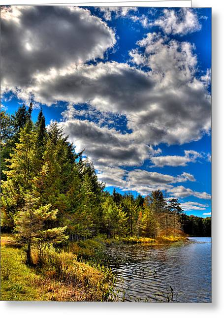 Tranquil Pond Greeting Cards - An Autumn Afternoon at Twin Ponds Greeting Card by David Patterson
