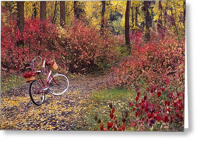 An Autumn Bike Trek Greeting Card by Leland D Howard