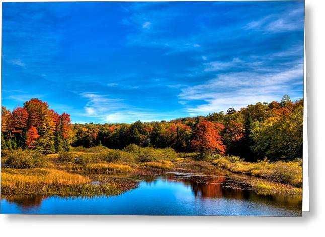 Reflections In River Greeting Cards - An Autumn Day at the Green Bridge Greeting Card by David Patterson