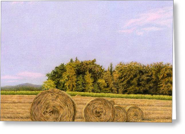 Bale Drawings Greeting Cards - An Autumn Evening Greeting Card by Sarah Batalka