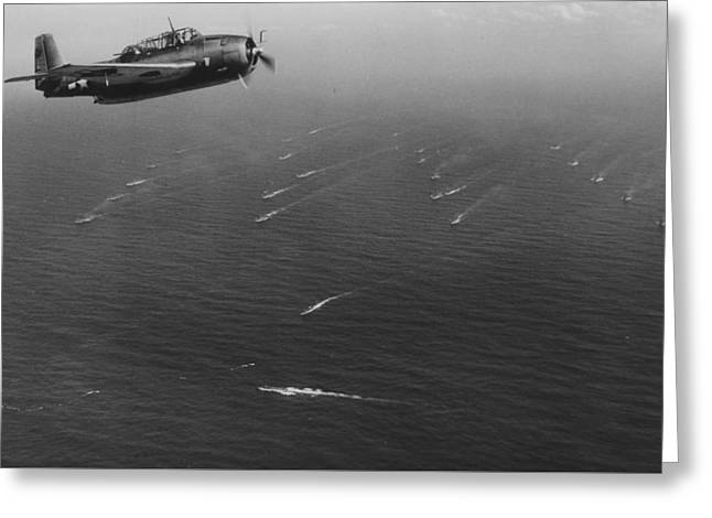 An Avenger Aircraft On Patrol  Greeting Card by American School
