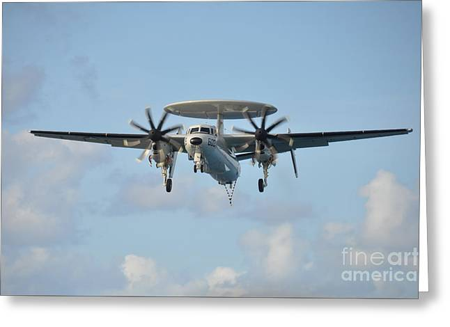 Enterprise Paintings Greeting Cards - An E-2 Hawkeye  Greeting Card by Celestial Images