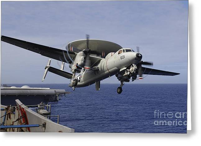 Carrier Greeting Cards - An E-2c Hawkeye Launches From Uss Kitty Greeting Card by Stocktrek Images