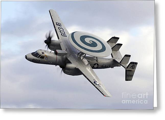 Aircraft Carrier Greeting Cards - An E-2c Hawkeye Performs A Fly-by Greeting Card by Stocktrek Images
