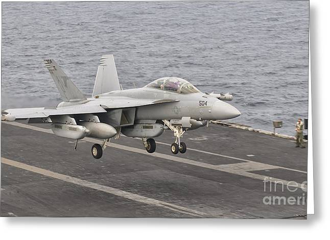 Carrier Greeting Cards - An Ea-18g Growler Landing On The Flight Greeting Card by Giovanni Colla