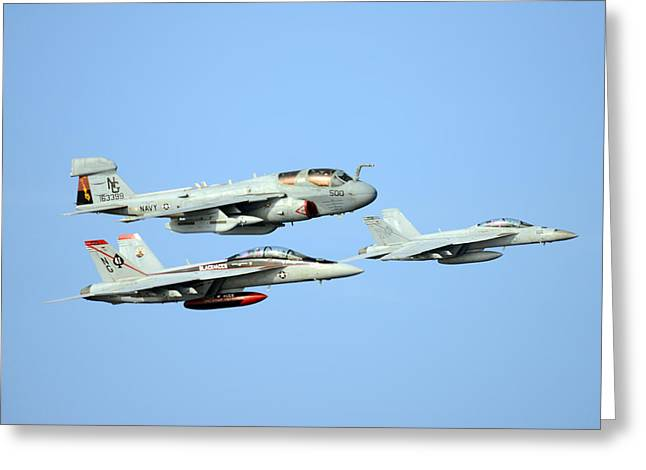 Prowler Paintings Greeting Cards - An EA-6B Prowler and two F A-18F Super Hornets US Navy Greeting Card by Celestial Images