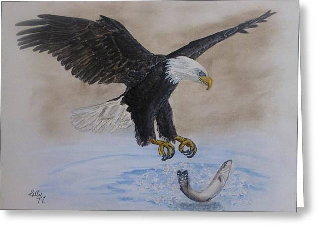 Salmon Paintings Greeting Cards - An Eagles Easy Catch Greeting Card by Kelly Mills