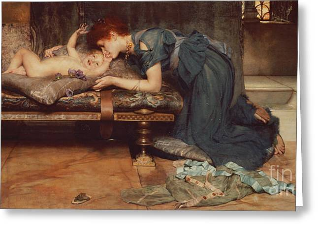Caring Mother Paintings Greeting Cards - An Earthly Paradise Greeting Card by Sir Lawrence Alma-Tadema