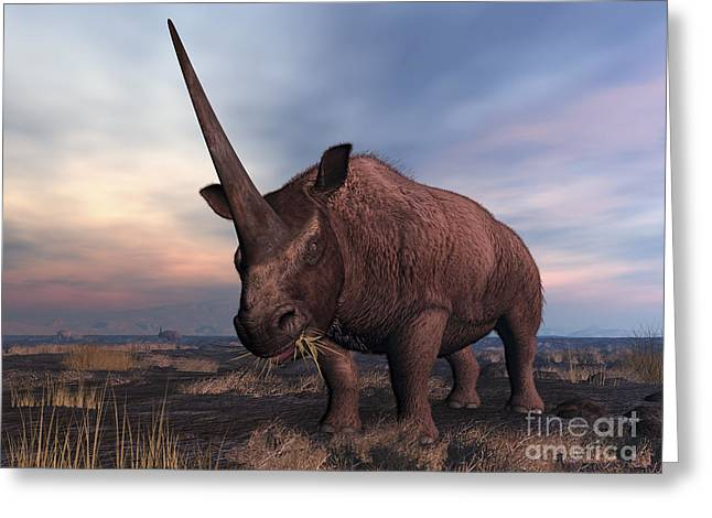 Creature Eating Greeting Cards - An Elasmotherium Grazing Greeting Card by Walter Myers