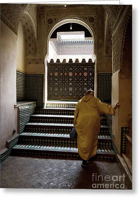 An Elderly Woman Entering The Mosque In Fes, Morocco Greeting Card by Dani Prints and Images