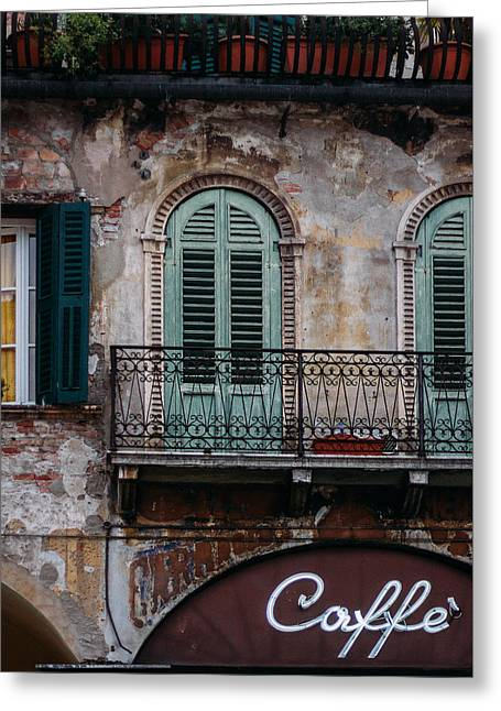 An Elegant Cafe Facade In Verona, Italy Greeting Card by Sara White