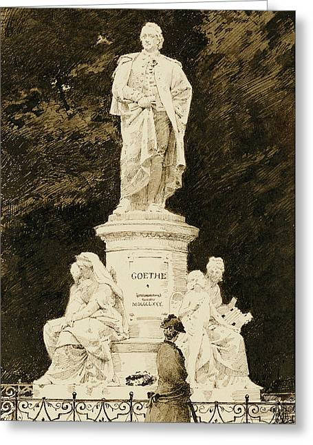 Dog Walking Greeting Cards - An Elegant Lady at the Statue of Goethe Greeting Card by Paul Fischer