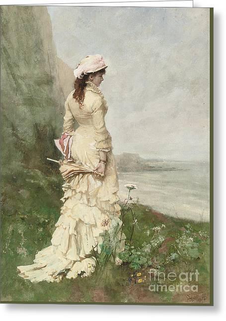 An Elegant Lady By The Sea Greeting Card by Ferdinand Heilbuth
