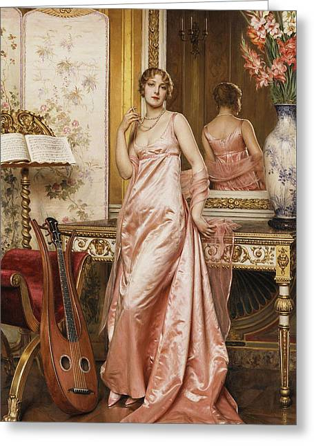 An Elegant Lady In An Interior Greeting Card by Joseph Frederic Charles Soulacroix