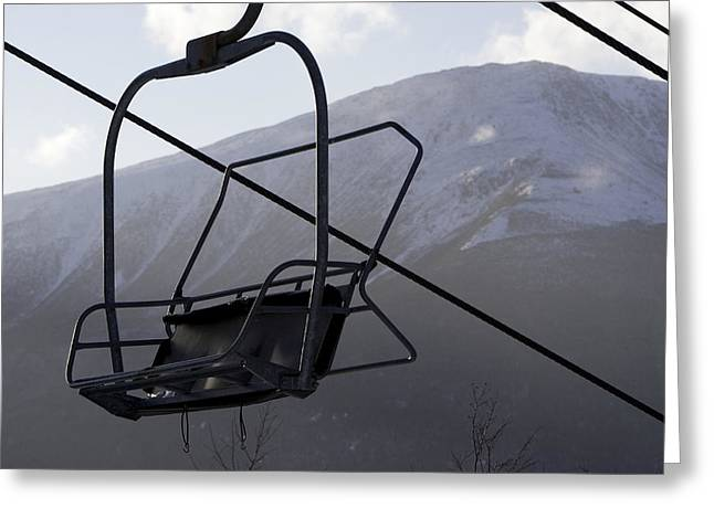 Wildcats Greeting Cards - An Empty Chair Lift At A Ski Resort Greeting Card by Tim Laman