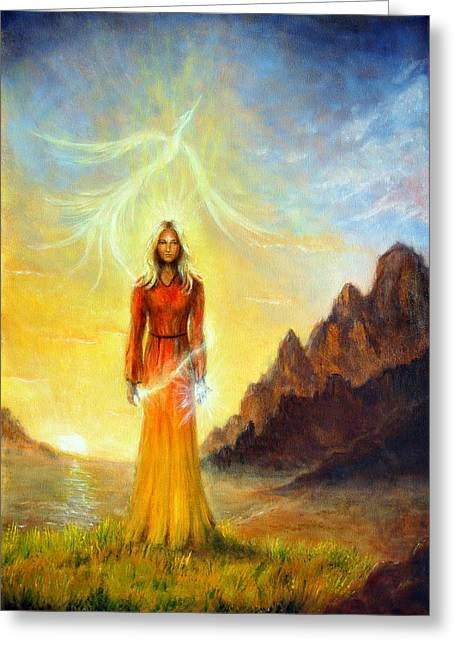 Mystic Setting Greeting Cards - An enchanting mystical priestess with a sword of light in a land Greeting Card by Jozef Klopacka