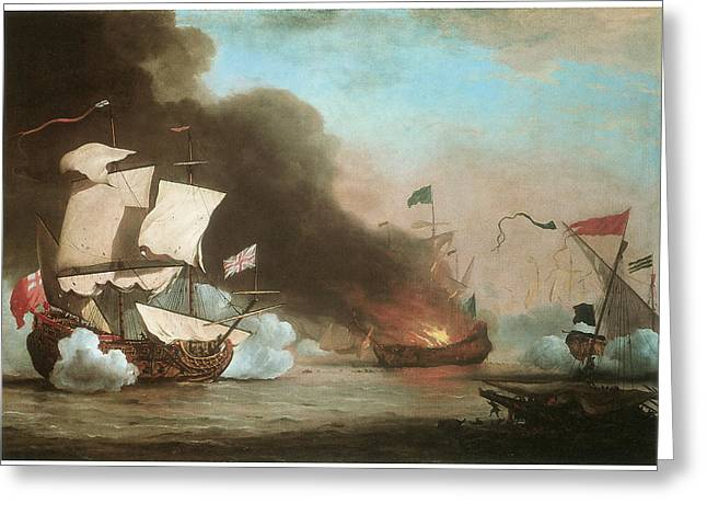 Pirate Ships Paintings Greeting Cards - An English Ship in action with Barbary Pirates Greeting Card by Willem van de Velde the Younger