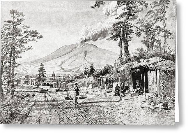 Mt Drawings Greeting Cards - An Eruption From Mount Asama, Central Greeting Card by Ken Welsh
