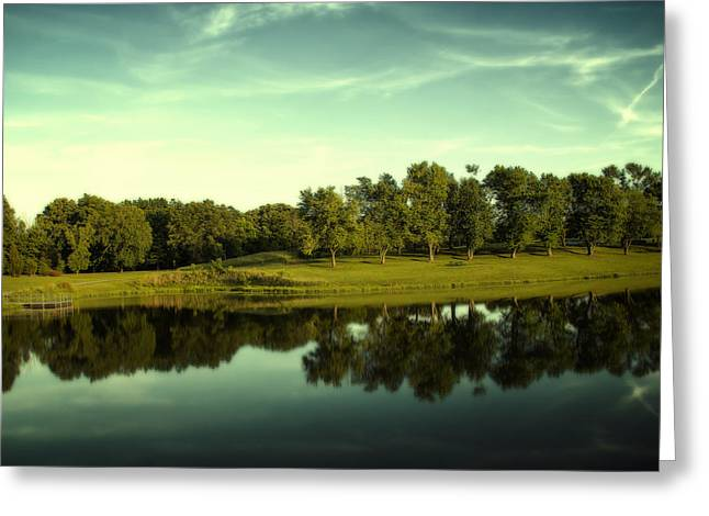 Tree Lines Digital Greeting Cards - An Evening at Broemmelsiek Park Greeting Card by Bill Tiepelman