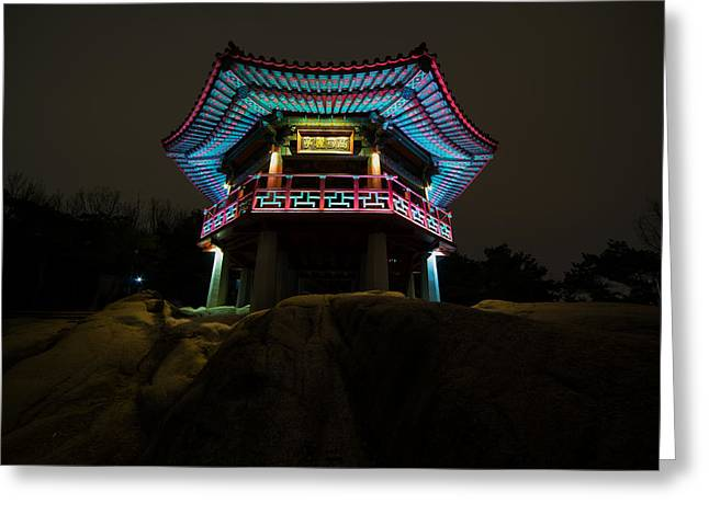 Seoul Greeting Cards - An Evening at the Temple - Seoul Greeting Card by Youngho Lee