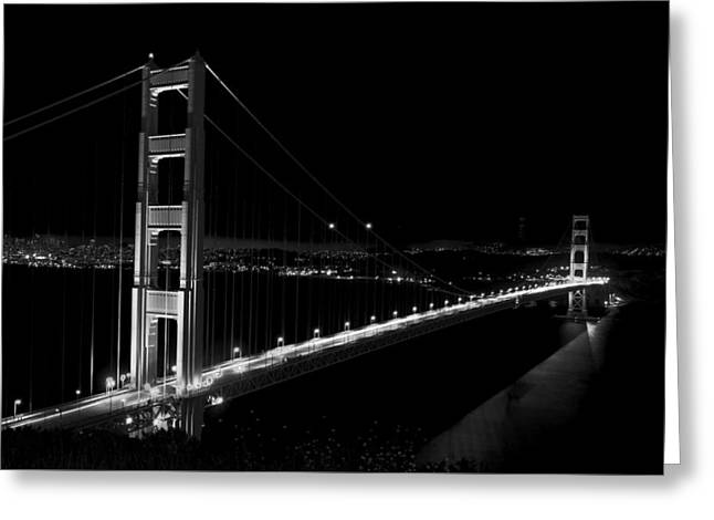 Famous Bridge Greeting Cards - An Evening On The Golden Gate Bridge Greeting Card by Mountain Dreams
