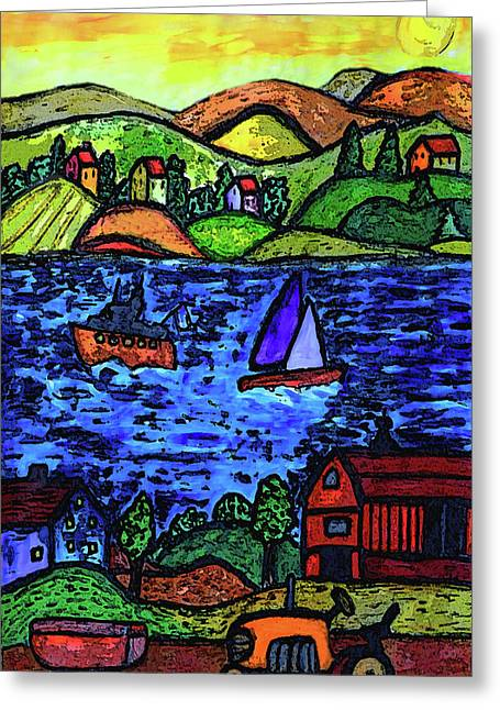 Yellow Sailboats Drawings Greeting Cards - An Evening Sunset Greeting Card by Monica Engeler