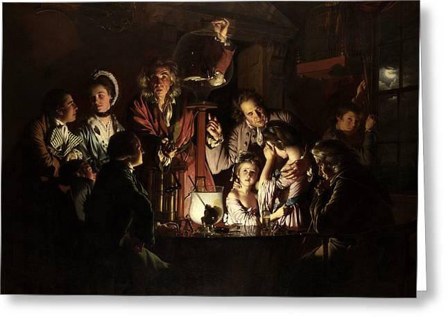 An Experiment On A Bird In An Air Pump  Greeting Card by Joseph Wright