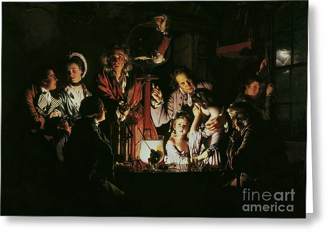 Candle Lit Paintings Greeting Cards - An Experiment on a Bird in the Air Pump Greeting Card by Joseph Wright of Derby