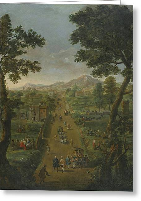 Landscape With A Road Greeting Cards - An Extensive Landscape Greeting Card by Celestial Images