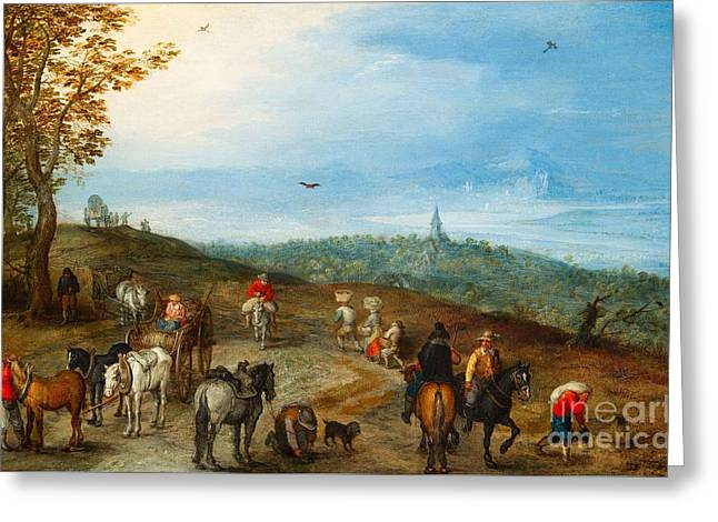 Landscape With A Road Greeting Cards - An extensive Landscape with travellers on a Road Greeting Card by MotionAge Designs