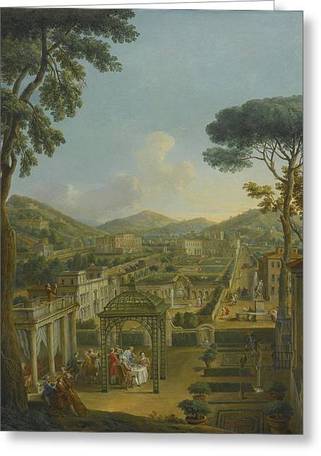 An Extensive Landscape With Villas And Figures Greeting Card by Celestial Images
