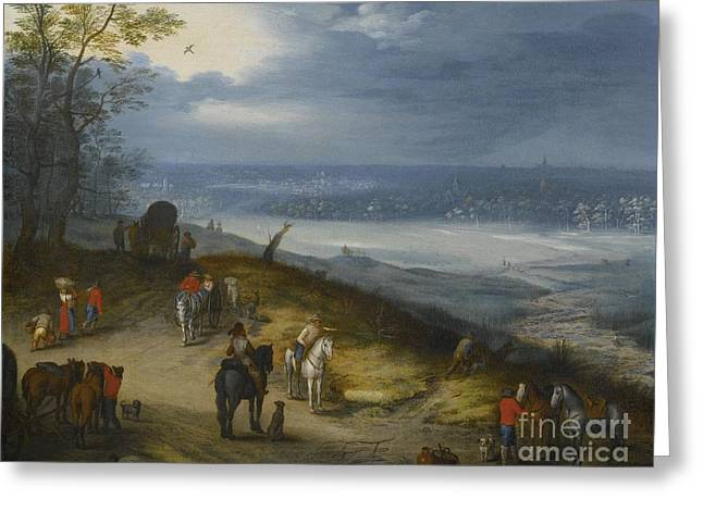 An Extensive Wooded Landscape With Travelers Greeting Card by Celestial Images