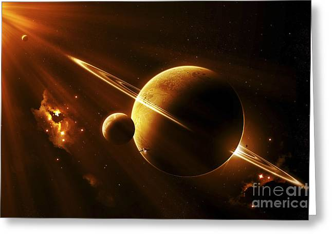 Ring Systems Greeting Cards - An Extraterrestrial Spacecraft Greeting Card by Kevin Lafin