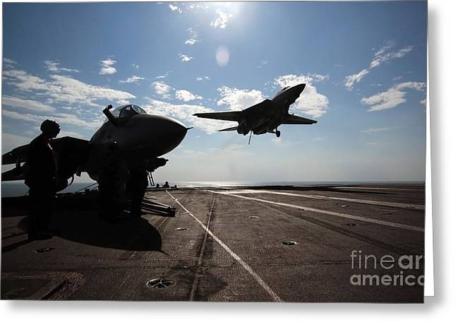 Nimitz-class Greeting Cards - An F-14d Tomcat Prepares To Make An Greeting Card by Stocktrek Images