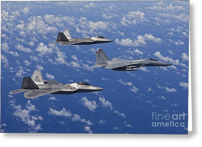 An F-15 Eagle And Two F-22 Raptors Fly Greeting Card by HIGH-G Productions