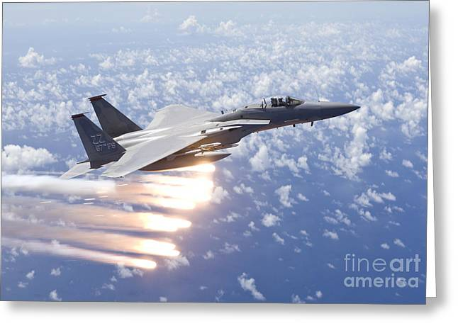 Release Greeting Cards - An F-15 Eagle Releases Flares Greeting Card by HIGH-G Productions