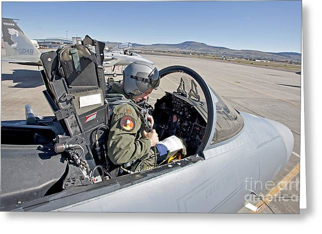 Side Panel Greeting Cards - An F-15 Pilot Performs Preflight Checks Greeting Card by HIGH-G Productions