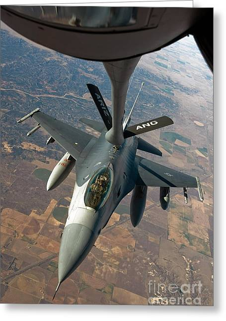 Mechanism Greeting Cards - An F-16 Fighting Falcon Receiving Fuel Greeting Card by Stocktrek Images
